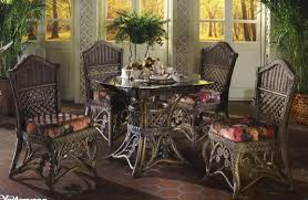 cool rattan dinette sets featuring dark stained rattan chair and
