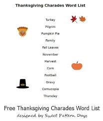 printable thanksgiving charades words thanksgiving
