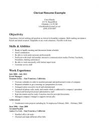 sample objective for clerical resume resume template example