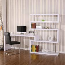 Desk And Bookshelf Combo Homcom Foldable Rotating Corner Desk And Shelf Combo White