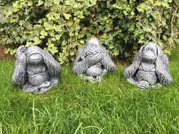 3 wise monkeys orangutans garden ornaments in kingswood