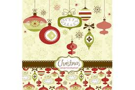 christmas clip art retro ornaments illustrations creative market