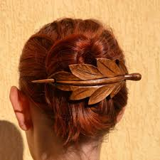 leather hair accessories leaf wood hair accessories wooden shawl pin gift