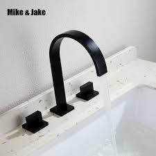 black faucet double handle square bathroom black faucet mixer faucet tap three
