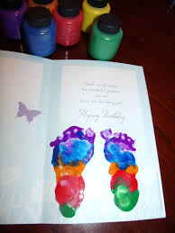 Homemade Card Ideas by Chase U0027s Birthday Card For His Grandma Footprints Done In Washable