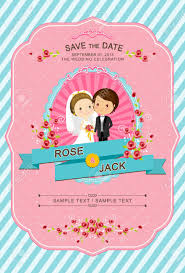 cute bride and groom wedding invitation template royalty free