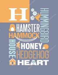 letter h typography illustration alphabet poster design with words