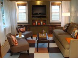 khaki tile fireplace connected by mocha fabric sofa set and