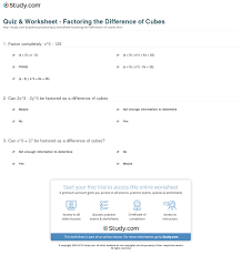 quiz u0026 worksheet factoring the difference of cubes study com