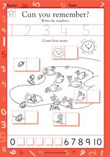write the numbers 1 5 kindergarten math practice worksheet