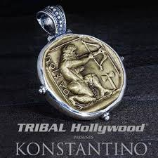 silver coin necklace pendants images Konstantino hercules archer bronze coin necklace pendant jpg