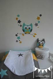 stickers chambre bébé mixte décoration chambre enfant mixte turquoise jaune moutarde gris hibou