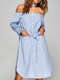 striped off the shoulder shirt dress stripe casual dresses m zaful