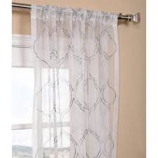 Sheer Embroidered Curtains Lattice White Embroidered Organza 96 Inch Sheer Curtain Panel