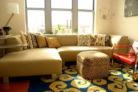 Sofa Decorative Pillows by Round Storage Ottoman Living Room Eclectic With Corner Sofa