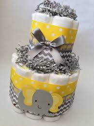 yellow and grey baby shower decorations chevron elephant cake 2 tier cake