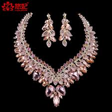 color rhinestone necklace images Gorgeous light peach color rhinestone necklace earrings bridal jpg