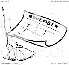 clipart of a vintage black and white november calendar with a