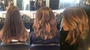 soft under cut hair before and after of this soft undercut lob with balayage by