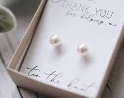 bridesmaid pearl earrings bridesmaids earrings etsy