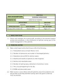 Supervisor Qualifications Resume Director Of Nursing Job Description Resume For Nurses Sample