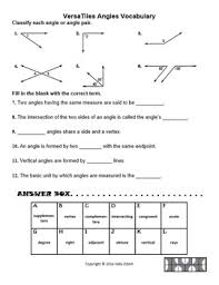 angles and angle pairs vocabulary for versatiles tpt