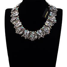 gold statement collar necklace images Vintage gold tone chain multi color glass crystal charm choker jpg