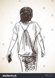 sketch woman back hand drawn vector stock vector 397530061