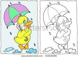 coloring book duck umbrella hand drawn stock vector 553536586