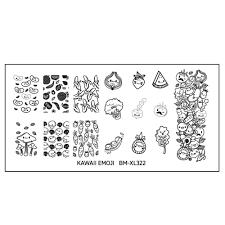 kawaii emoji xl nail art stamping plate set adorably delicious