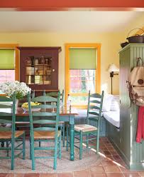 checkered orange ceramic floor bright yellow paint wall green