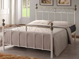 cream metal bed frame antique brass double omeros dma homes 16742