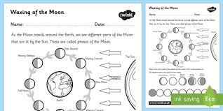 waxing of the moon activity sheet phases of the moon waxing