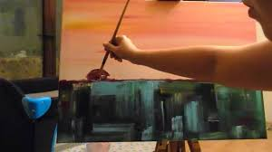 how to paint a morning semi abstract landscape painting with a