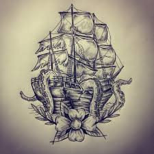 ship octopus tattoo sketch drawing by ranz pinterest