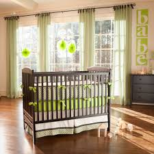 Bright Crib Bedding White Wall Themes With Green Curtains Combined By Black Wooden