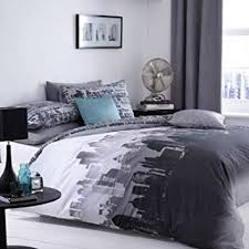 Bed Linen Sizes Uk - city scape skyline king size duvet bed linen set amazon co uk