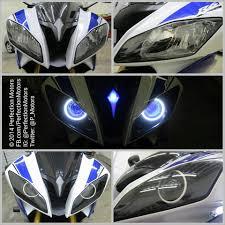 yamaha r6 halo lights yamaha r6 with dual bi xenon projector conversion white halo angel