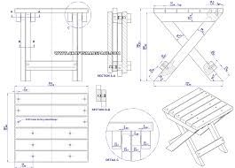 Wood Folding Table Plans Camping Stool Plan Assembly Drawing Seating Pinterest