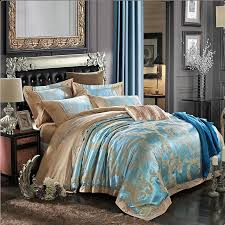 Light Blue Bed Comforters Blue And Gold Bedding 1070