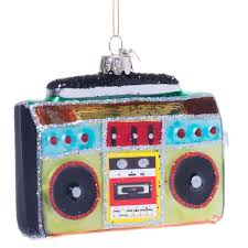 boombox ghetto blaster glass ornament retrofestive ca