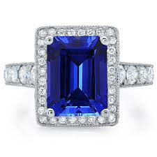sapphire emerald cut engagement rings emerald cut sapphire halo engagement ring