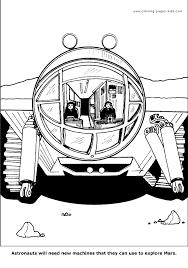 astronauts in a space machine color pages coloring pages for
