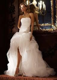 short front long back wedding dress strapless organza ruffles