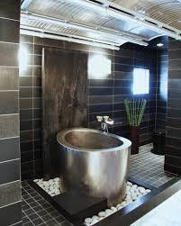 bathroom lovely river rock bathroom design ideas with white tile