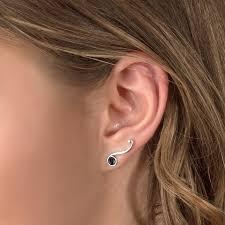 ear climber earrings silver onyx ear climber earring made in usa