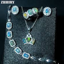 opal stone silver necklace images Zhhiry natural fire opal gemstone jewelry sets genuine stone solid jpg