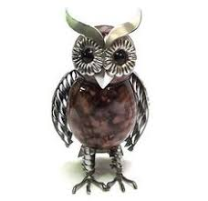 ornamental feathered owl small metal garden ornament metal
