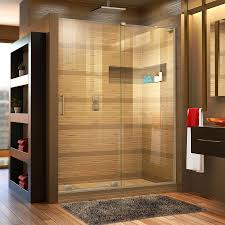 Lowes Frameless Shower Doors Shop Dreamline Mirage X 56 In To 60 In W Frameless Brushed Nickel