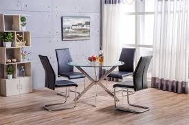glass and chrome dining table venice chrome metal round circular glass dining table and 4 black